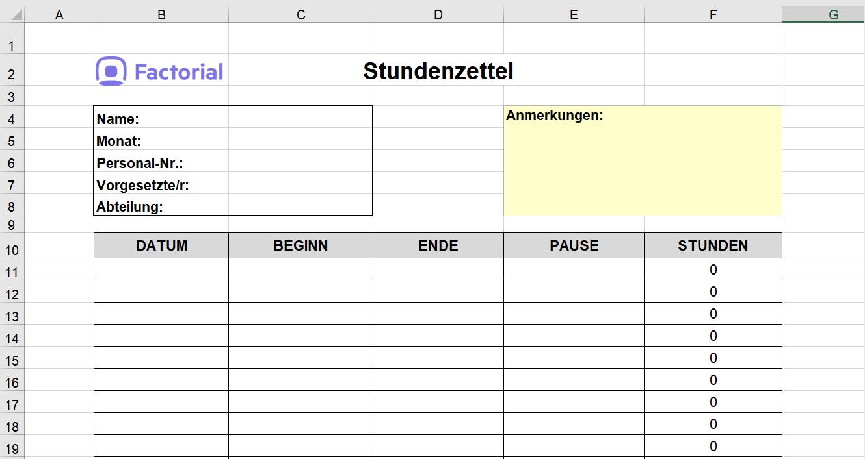 Zeiterfassung-Excel